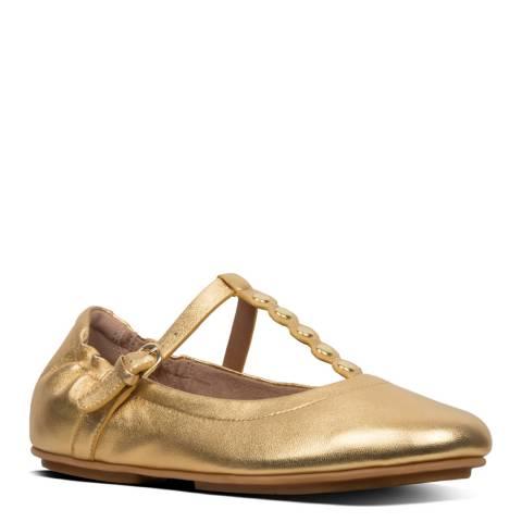 FitFlop Gold Allegro Scallop T Bar Ballet Flats