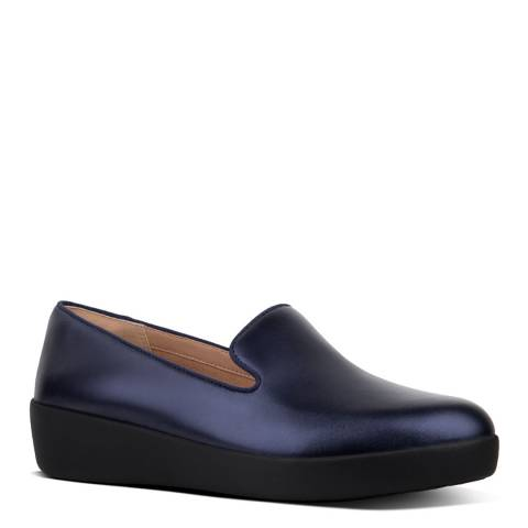 FitFlop Midnight Navy Audrey Metallic Leather Loafers