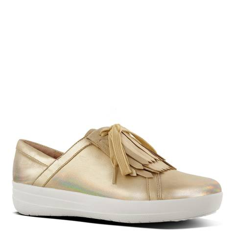 FitFlop Gold Iridescent F Sporty II Fringe Sneakers