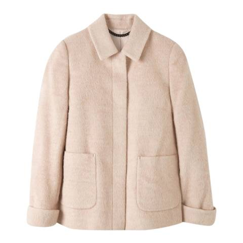 Pure Collection Neutral Collared Wool Blend Swing Coat