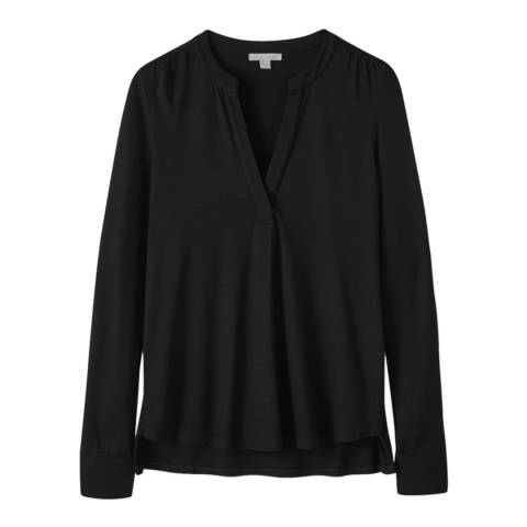 Pure Collection Black Jersey Open V Neck Blouse