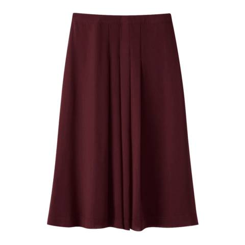 Pure Collection Burgundy Soft Pleat Skirt