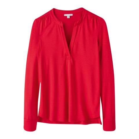 Pure Collection Red Jersey Open V Neck Blouse