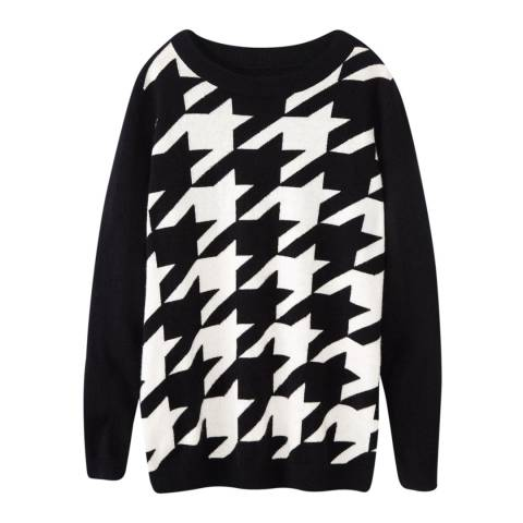 Pure Collection Black/White Houndstooth Cashmere Jumper