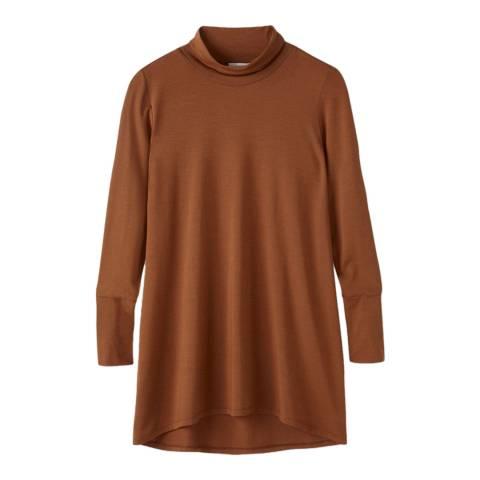 Pure Collection Cognac Soft Longline Roll Neck Top