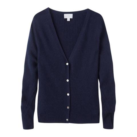 Pure Collection Navy Gassato Rib Cashmere Cardigan