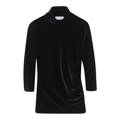 Pure Collection Black Velour High Neck Top