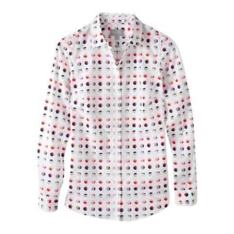 Pure Collection White/Multi Spot Cotton Shirt