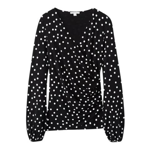 Pure Collection Black/White Print Gathered Cuff Top