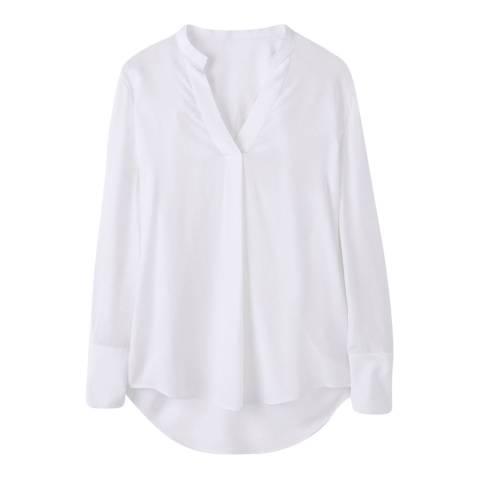 Pure Collection White Silk Ribbon Trim Blouse