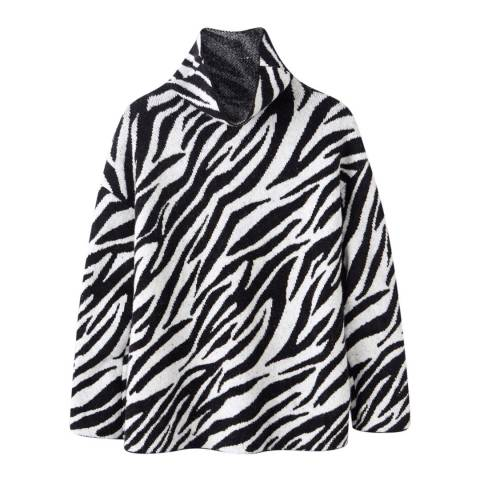 Pure Collection Black/White Animal Cotton Blend Jumper