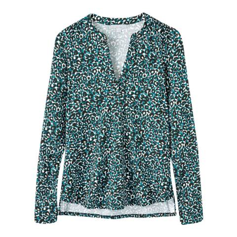Pure Collection Teal Leopard Print Jersey Open V Neck Blouse