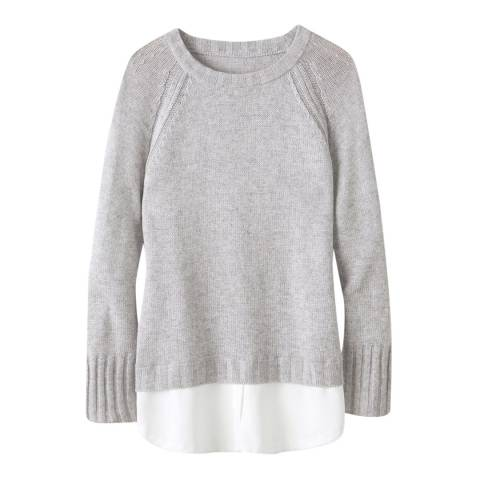 Pure Collection Heather Dove Woven Hem Wool Blend Jumper