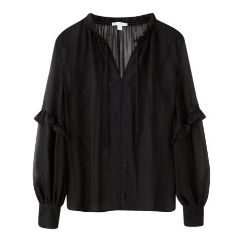 Pure Collection Black Lace Trim Blouse