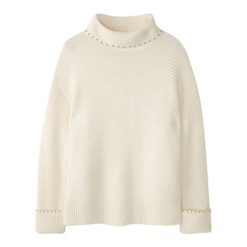 Pure Collection Ivory Embellished Ribbed Jumper