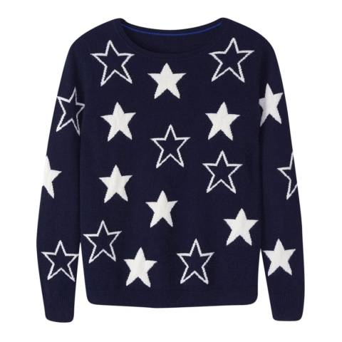 Pure Collection Navy Star Star Intarsia Cashmere Jumper