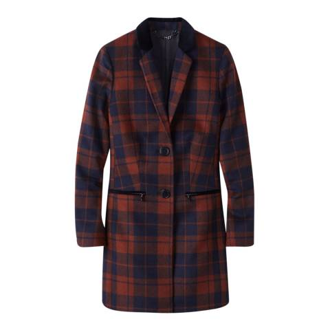 Pure Collection Navy/Orange Check Wool Blend Coat