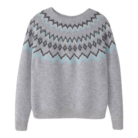 Pure Collection Grey Fairisle Cotton/Wool/Cashmere Jumper