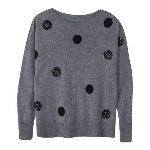 Pure Collection Charcoal Spot Wool/Cashmere Blend Jumper