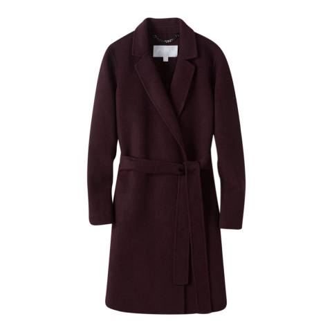 Pure Collection Aubergine Wool Blend Wrap Coat
