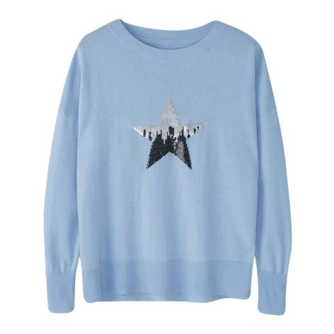 Pure Collection Blue Star Wool/Cashmere Blend Jumper