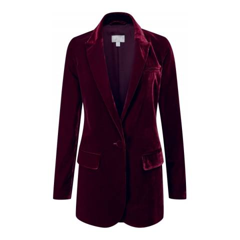 Pure Collection Dark Berry Relaxed Velvet Blazer