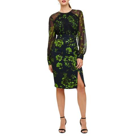 Phase Eight Navy/Green Alisha Floral Dress