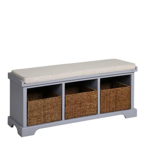 Maine Furniture Co. Newport 3 Basket Storage Bench & Cushion - Dove Grey