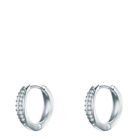 Carat 1934 Silver Crystal Hoop Earrings