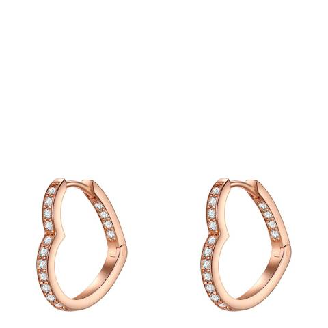 Carat 1934 Rose Gold Crystal Heart Hoop Earrings
