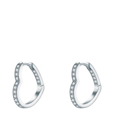 Carat 1934 Silver Crystal Heart Hoop Earrings
