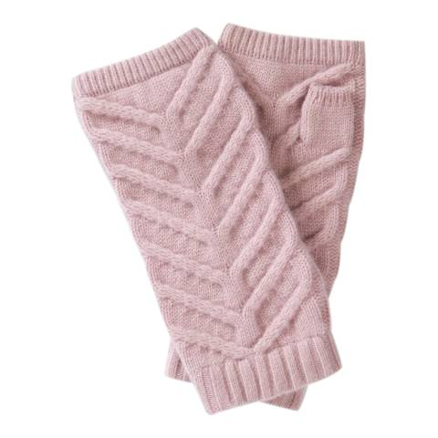 Pure Collection Dusty Pink Organic Cashmere Cable Mitts