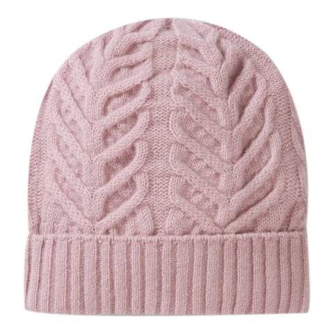 Pure Collection Dusty Pink Organic Cashmere Cable Hat