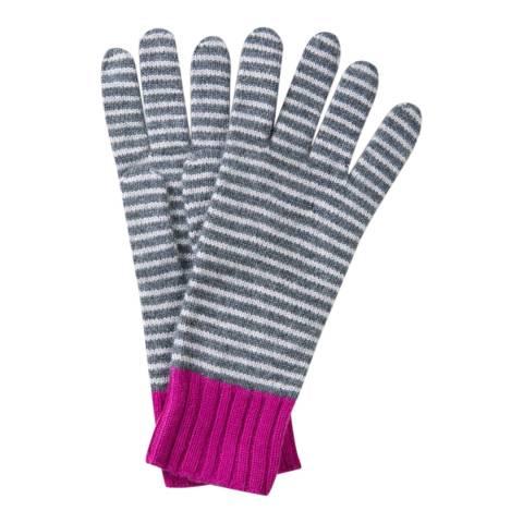 Pure Collection Grey Colour Block Cashmere Gloves