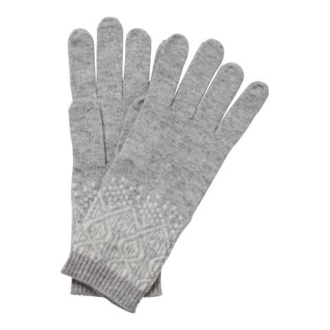 Pure Collection Heather Dove/Soft White Cashmere Fairisle Gloves