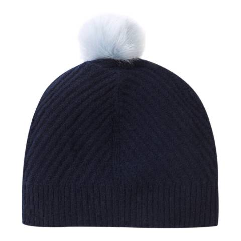 Pure Collection Navy Cashmere Ribbed Hat