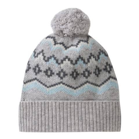 Pure Collection Grey Fairisle Cashmere Lofty Fairisle Pom Hat