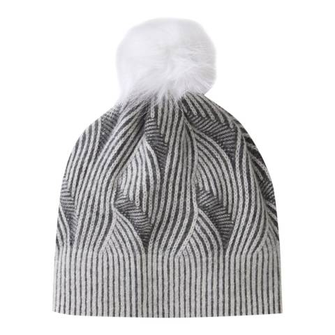 Pure Collection Grey/White Brushed Cable Hat