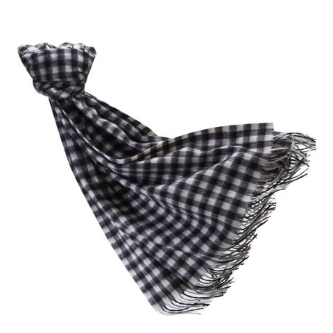 Pure Collection Black/White Check Soft Blanket Scarf