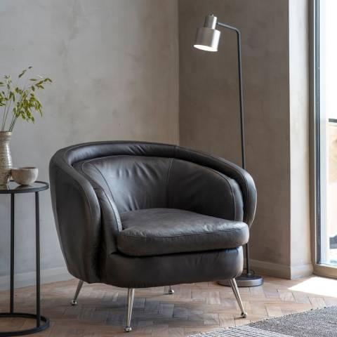 Gallery Tesoro Tub Chair, Black Leather