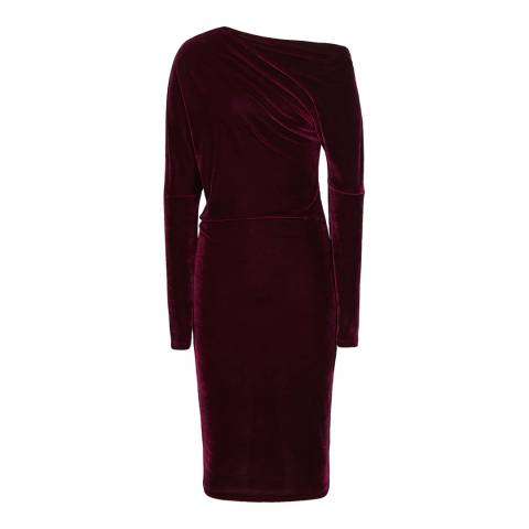 Reiss Red Elsa Velvet Drape Dress