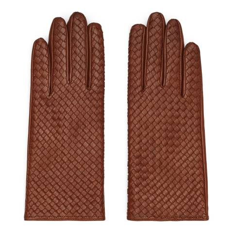 Reiss Tan Woven Leather Milly Gloves