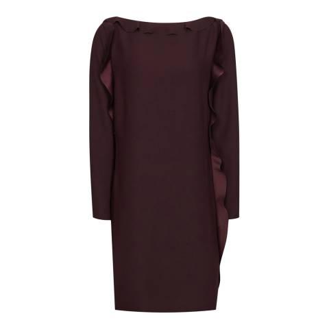 Reiss Burgundy Neptune Ruffle Dress