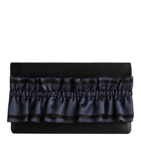 Reiss Black Maxima Satin Ruffle Clutch