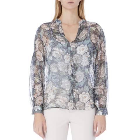 Reiss Grey Delaney Floral Print Top