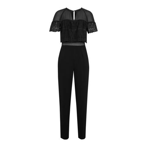 Reiss Black Talita Lace Top Jumpsuit
