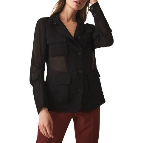 Reiss Black Sabri Sheer Utility Shirt