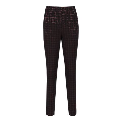 Reiss Black/Burgundy Laura Dogtooth Trousers