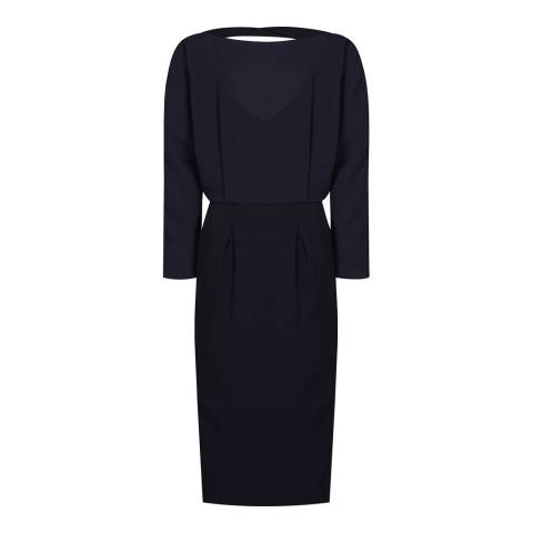 Reiss Navy Hannie Fitted Dress