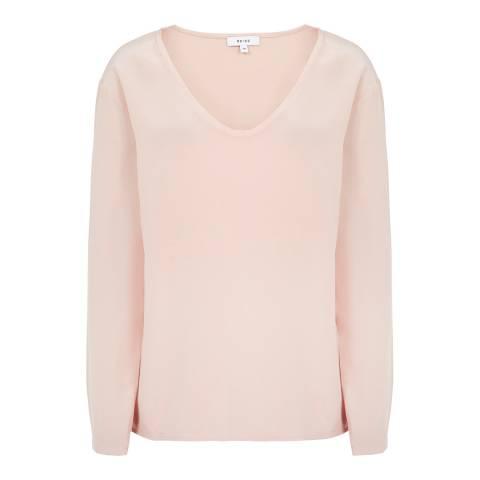 Reiss Pink Mega Silk Front Top